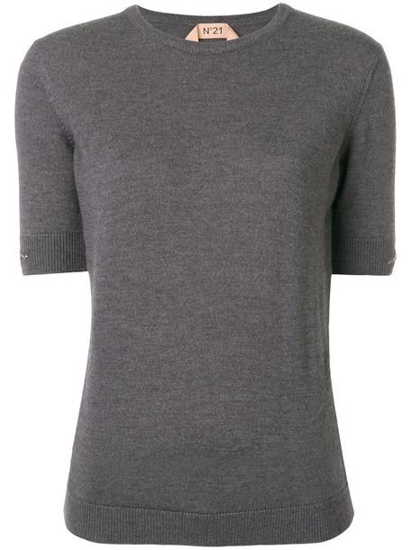No21 sweater women embellished wool grey