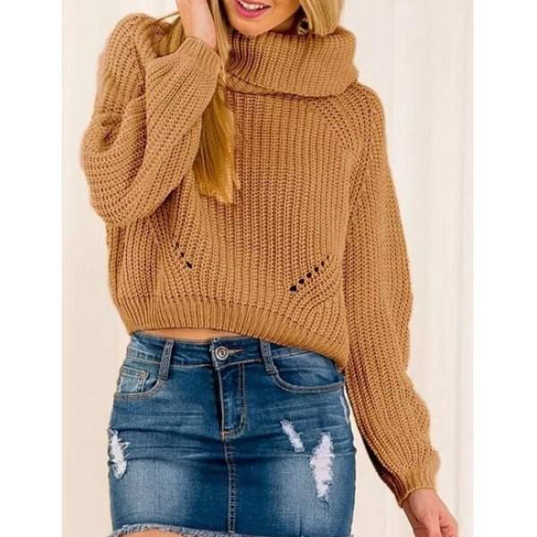 Khaki High Neck Hollow Crop Knit Sweater -SheIn(Sheinside)