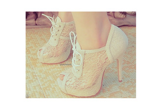 shoes lace high heels tie-up cream open toes ankle cut ankle boots high heels prom shoes prom beautiful lace heels