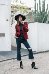 jacket,blazer,red blazer,top,black top,black jeans,ripped jeans,cropped jeans,boots,black boots,hat,jeans,cropped bootcut jeans