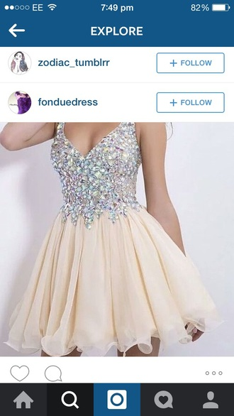 dress prom cream short dress jewes gems sparkle