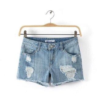 shorts denim shorts hole shorts