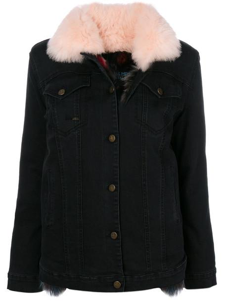 jacket denim jacket denim fur fox women spandex cotton black