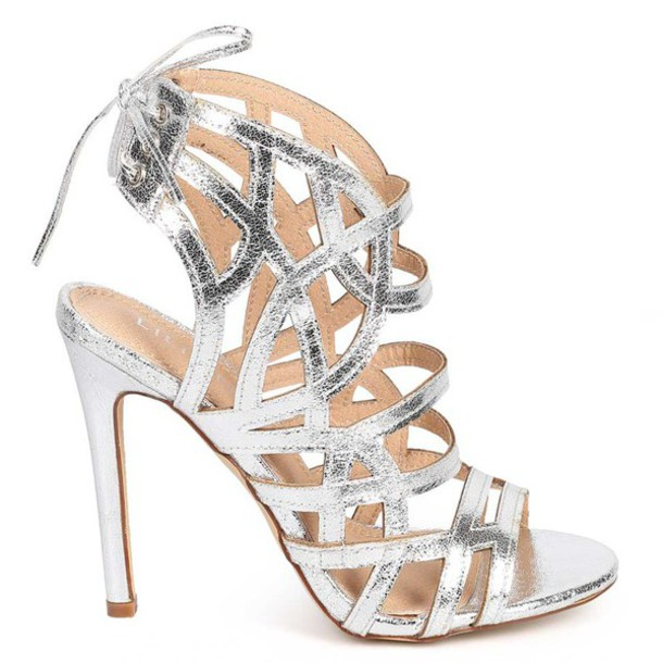 Shoes: heels, metallic, metallic shoes, metallic heels, silver ...