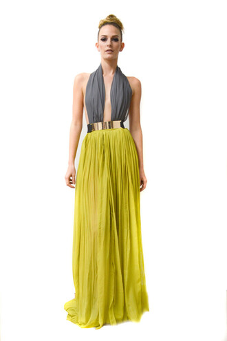 dress grey neon green neon green dress neon green skirt maxi dress maxi skirt halter top halter dress metal belt deep plunge neckline v neck dress two tone dress colour block skirt colour block colour block dress maxi vanessa simmons neon skirt clothes belt grey green maxi dress