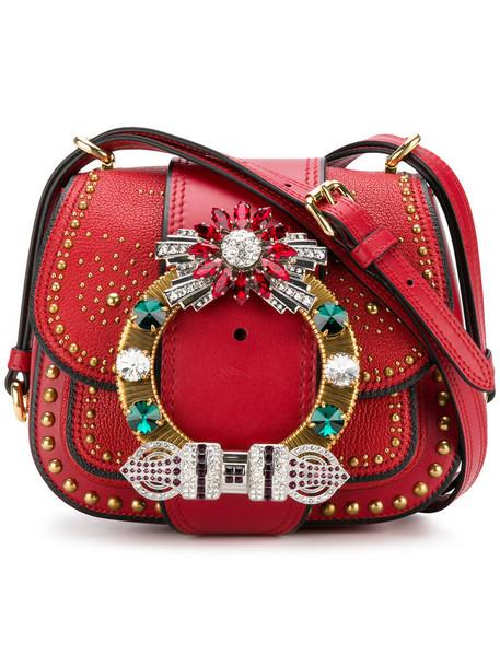 Miu Miu metal women bag shoulder bag leather suede red