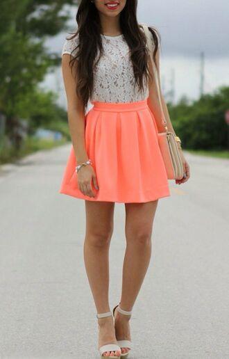crochet blouse jewels skater skirt shoulder bag heels