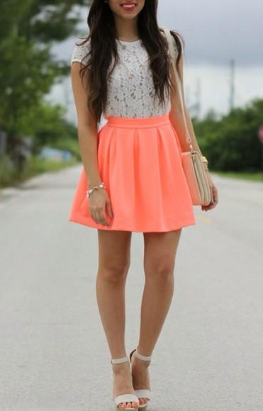 jewels blouse crochet skater skirt shoulder bag heels