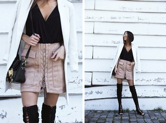 mexiquer blogger jacket skirt bag shoes lace up skirt