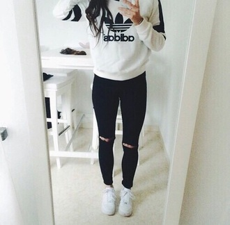 sweater adidas sweater jeans black and white chlotes shirt adidas black cute white white sweater pullover outfit goals adidas goal pants jacket adida