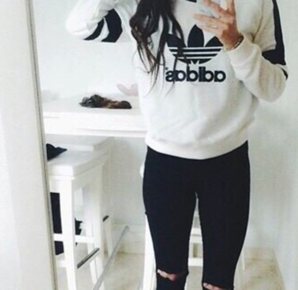 Sweater adidas sweater jeans black and white chlotes for Black sweater white shirt