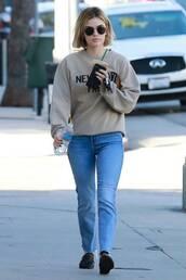 sweater,sweatshirt,jeans,denim,lucy hale,celebrity,streetstyle,casual