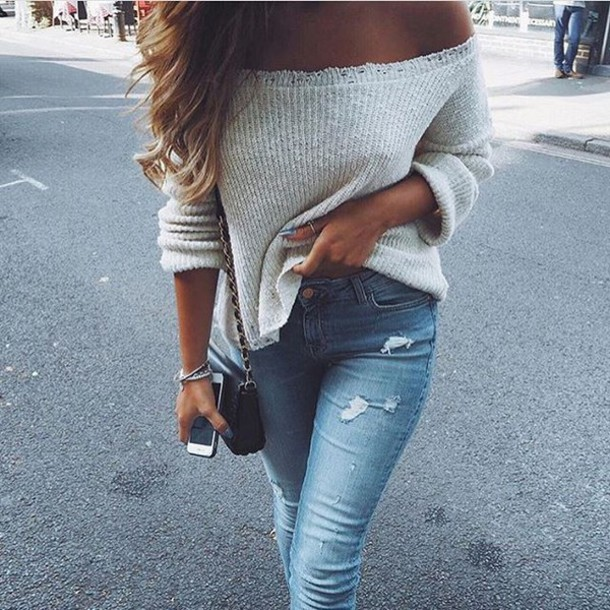 108365a87f57 sweater tumblr off the shoulder sweater white sweater denim jeans blue  jeans ripped jeans bag black