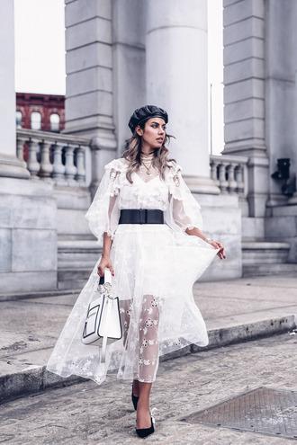 viva luxury blogger dress belt midi dress white dress beret belted dress pumps handbag hat