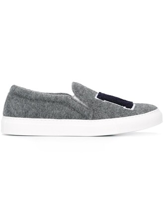 women sneakers leather wool grey shoes