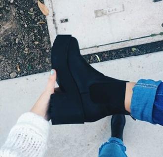 shoes black chelsea boots heels grunge black boots ankle boots mid heel boots suede boots