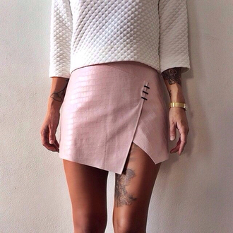 skirt leather skirt moto moto skirt muave muave skirt dope indie grunge tumblr instagram hipster dusty pink