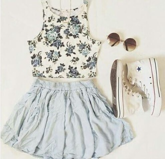 roses skater skirt light blue crop tops converse high top converse cute outfits feminine floral top shirt top
