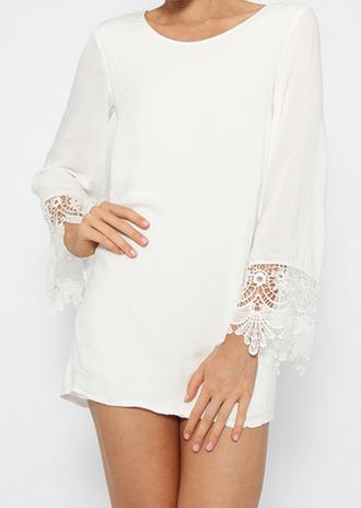 dress white crocheted short summer dress tan cute clothes girls girly pretty summer crochet