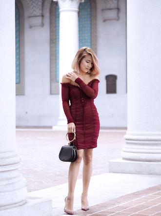 laminlouboutins blogger dress shoes bag fall outfits pumps high heel pumps red dress mini dress off the shoulder dress