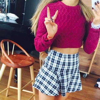 sweater skirt mini skirt tartan skirt cropped sweater cable knit
