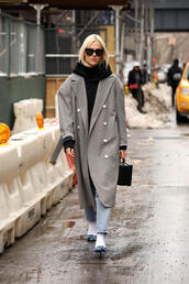coat,nyfw 2017,fashion week 2017,fashion week,streetstyle,grey coat,oversized,grey oversized coat,oversized coat,scarf,sweater,black sweater,sunglasses,bag,boxed bag,black bag,pumps,socks,socks and sandals,denim,jeans,blue jeans