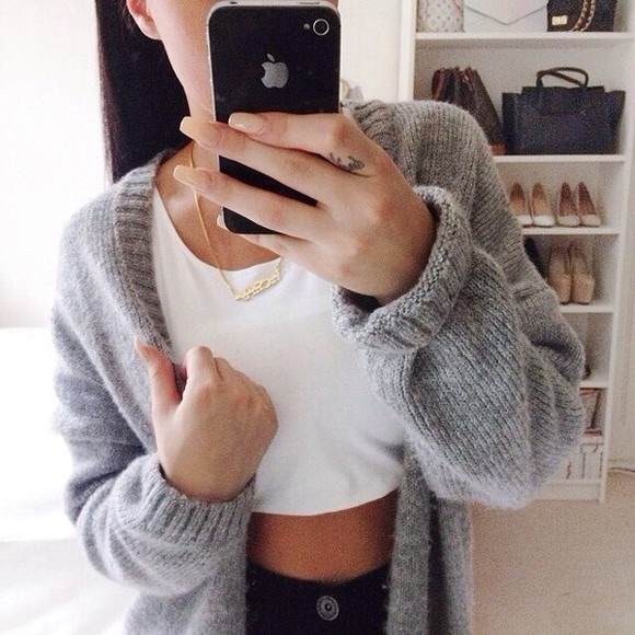 cardigan grey grey cardigan sweater t-shirt shirt tank top necklace knitwear top crop tops phone grey sweater grey knit cardigan iphone case high heels louis vuitton bag crop tops cute hipster iphone
