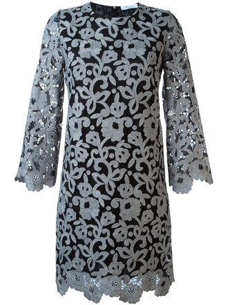 dress shift dress lace floral grey