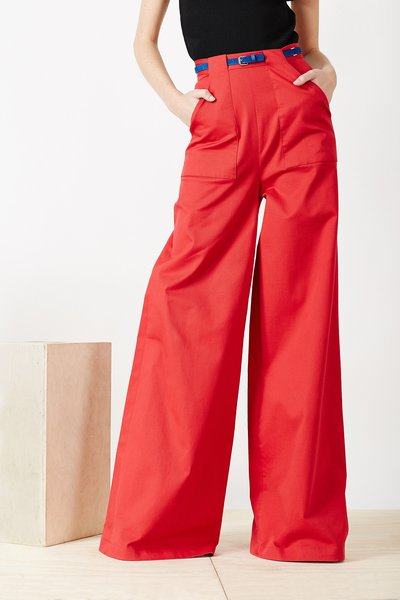 Adam Selman Stretch Twill Wide Leg Work Pants - WOMEN - Adam Selman - OPENING CEREMONY