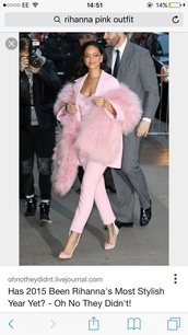 coat,celebrity style,celebrity,celebrity closet,fashion,pink,pink top,pink high heels,pink shoes,pink coat,pink shirt,pink sweater,pink tourmaline ring,pastel pink,rihanna,blazer
