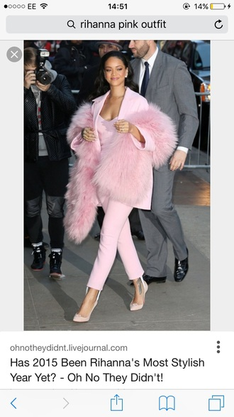 coat celebrity style celebrity celebrity closet fashion pink pink top pink high heels pink shoes pink coat pink shirt pink sweater pink tourmaline ring pastel pink rihanna blazer