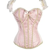 top,pink,gold,white,boned,pearl,bow,corset,ruffled straps