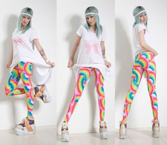 pants rainbow print leggings black milk cartoon