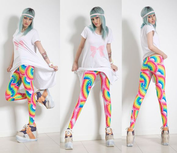 Black Milk pants leggings rainbow print cartoon