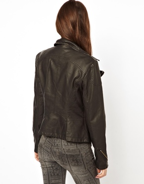 Free People | Free People Distressed Biker Jacket in Vegan Leather at ASOS