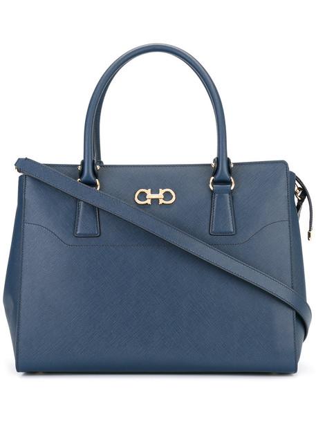 Salvatore Ferragamo - shoulder strap tote bag - women - Leather - One Size, Blue, Leather