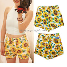 AA080 women sunflower print high waist denim short hot pant UK 4 6 8 10 12 14 | eBay