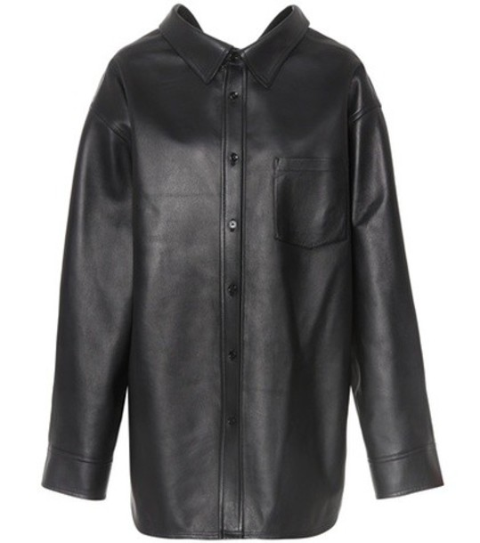 Balenciaga shirt leather shirt leather black top