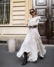 dress,maxi dress,long sleeve dress,asymmetrical dress,black boots,over the knee,black sunglasses,earrings