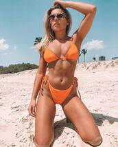 bikini top,orange bikini top,bikini bottoms,orange bikini bottom,swimwear
