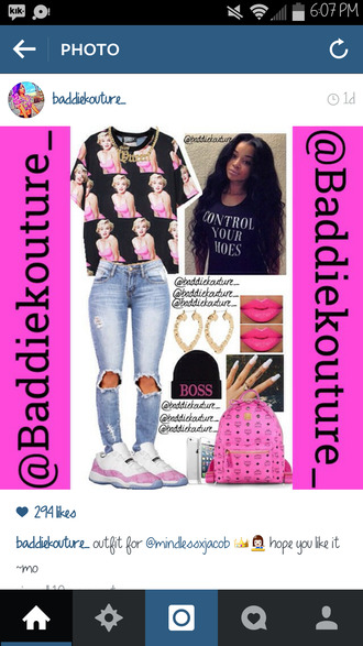 marilyn monroe dope baddiekouture_ outfit idea outfit jeans bag jewels shoes instagram t-shirt ripped jeans boss pink lipstick mcm mcm bag quote on it