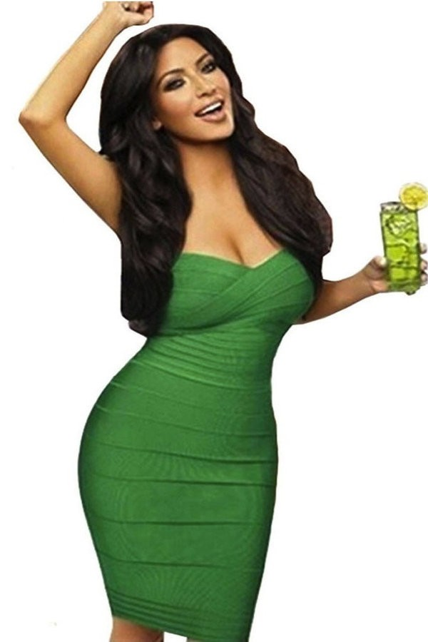 Kimy green strapless bandage dress