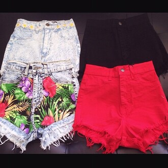 belt high waisted shorts floral shorts red high waisted shorts