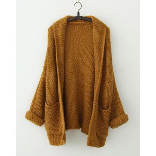 sweater cardigan top mustard oversized cardigan fall colors