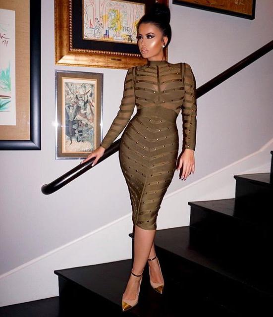 Long Sleeve Studded Mesh Midi Bandage Dress Green