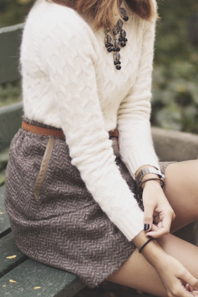 skirt jewels mini skirt sweater grey white gray skirt brown gray skirt brown gray herringbone skirt metallic trim layered jewelry top white top classy fall fall sweater fall skirt fall mini skirt fuzzy sweater fluffy sweater fuzzy leather leather belt herringbone metallic statement necklace statement neckpiece jewelry
