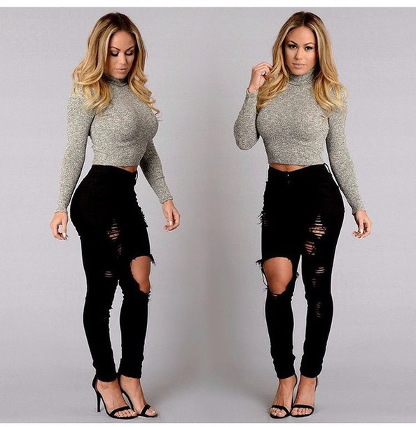 9ec5d3e25dd top, crop tops, ripped jeans, high waisted jeans, black jeans, black ...