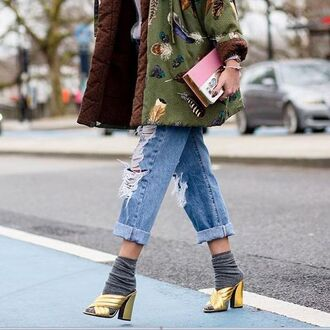 jeans tumblr cuffed jeans blue jeans ripped jeans jacket army green jacket bag clutch gucci mules gucci shoes gucci gold sandals gold shoes mules socks and sandals socks streetstyle