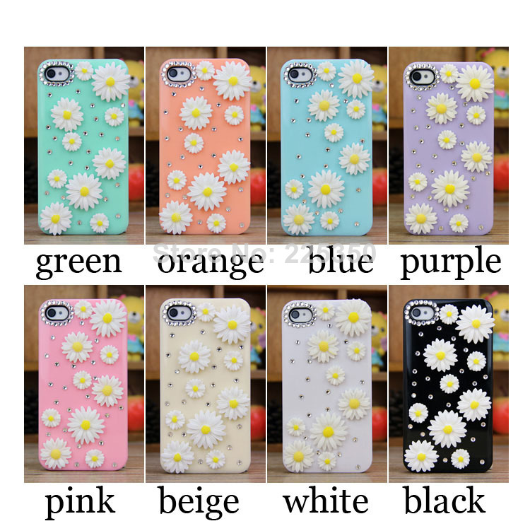 2014 Luxury Fashion DIY Handmade Rhinestone Diamond Little Daisy Flower Case Cover For Iphone 5 5G 5S Free Shipping-in Phone Bags & Cases from Electronics on Aliexpress.com