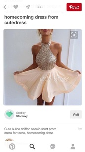 dress,skater,peach,sparkle,clothes,sparkly dress,blush pink,party dress,pink dress,halter neck dress,prom dress,nude,nude dress,prom